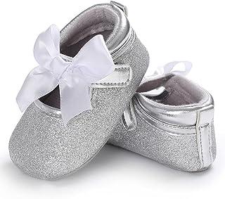 Coloré(TM Chaussure Premier Pas Fille Blanc Chaussures de Bébé Baptême Semelle Souple
