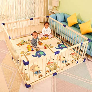 Baby Playpen Wood Frame, Portable Assembly Toddler Crawling Activity Centre Play Yard for Indoor Outdoor Travel (Size : 12...
