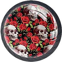 Schuifladenknoppen van glas, rond, voor kasten, 4 stuks, Halloween doodskop, roze/rood