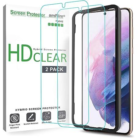 amFilm Protector Pantalla para Samsung Galaxy S21 Plus (2 Piezas), Híbrido (Fácil Instalación) Film Mica Protector de Pantalla Compatible con Sensores Táctiles (2021)