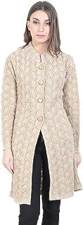HAUTEMODA Woollen Long Cardigan for Winters (Beige)