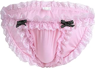 iEFiEL Mens See-Through Sissy Mesh Ruffle G-String Girlie T-Back Thongs Cross Dresser Underwear Garters