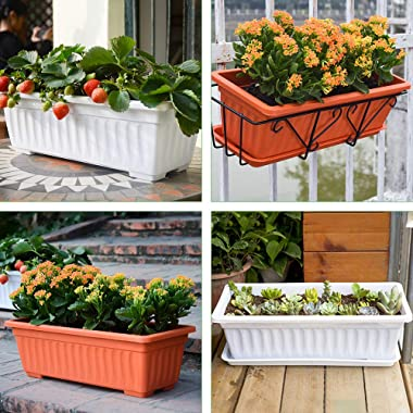 GROWNEER 3 Packs 17 Inches White Flower Window Box Plastic Vegetable Planters with 15 Pcs Plant Labels, for Windowsill, Patio