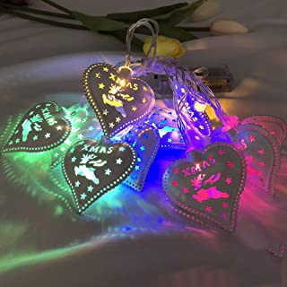 Vacally Warm White Lights Christmas Fairy Lamp Wedding Xmas Party Outdoor Decor Colorful Heart Shaped Romantic Bulb for Garden Christmas Tree Decorate 1.5m
