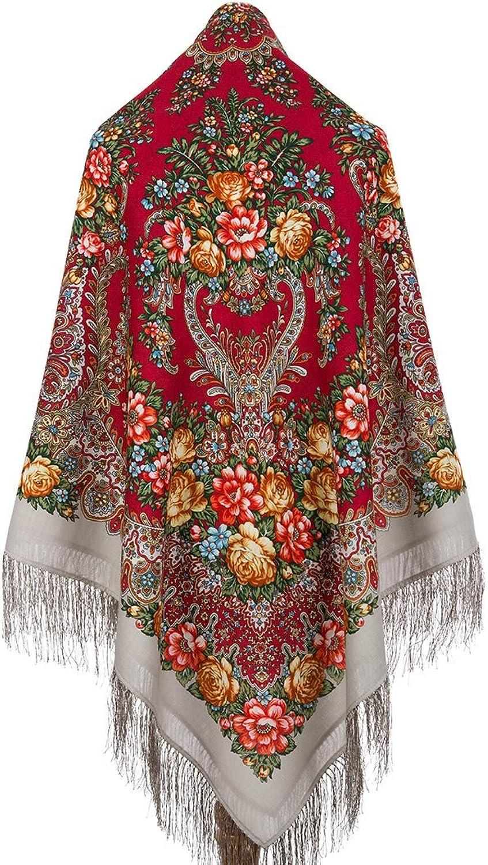 Pavlovo Posad Russian Shawl Wrap Pashmina 100% Wool Grey & Red 57x57'' NEW 2017