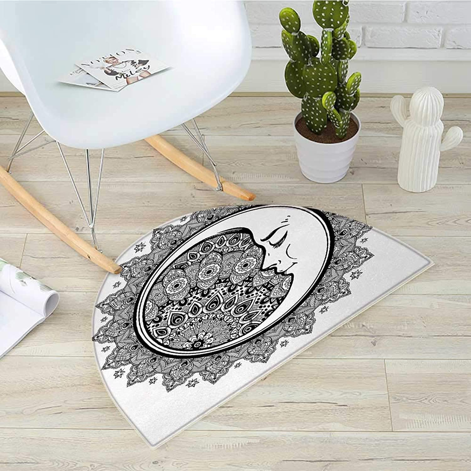 Zodiac Half Round Door mats Interlace Round Ethnic Mandala and Crescent Moon with Ethnic Folkloric Graphic Bathroom Mat H 31.5  xD 47.2  Black White