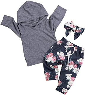 Baby Girl Clothes Long Sleeve Hoodie Sweatshirt Floral Pants with Headband Outfit Sets White