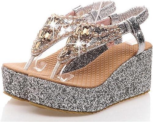 MNII Chaussure De Printemps éTé Pour Femmes Chaussure à Talons DéContractéS Talon Talon Talon argent Rose or, 39, argent- élégant et beau