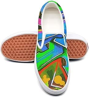 IEKLFKFVF Colorful Checkered Graffiti Mens Slip on Shoes Print Casual X 2018