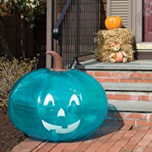 """SCS Direct Teal Pumpkin Giant 35"""" Inflatable for Halloween Decorations - XL Blow Up Indoor / Outdoor Jack O Lantern Decor ..."""