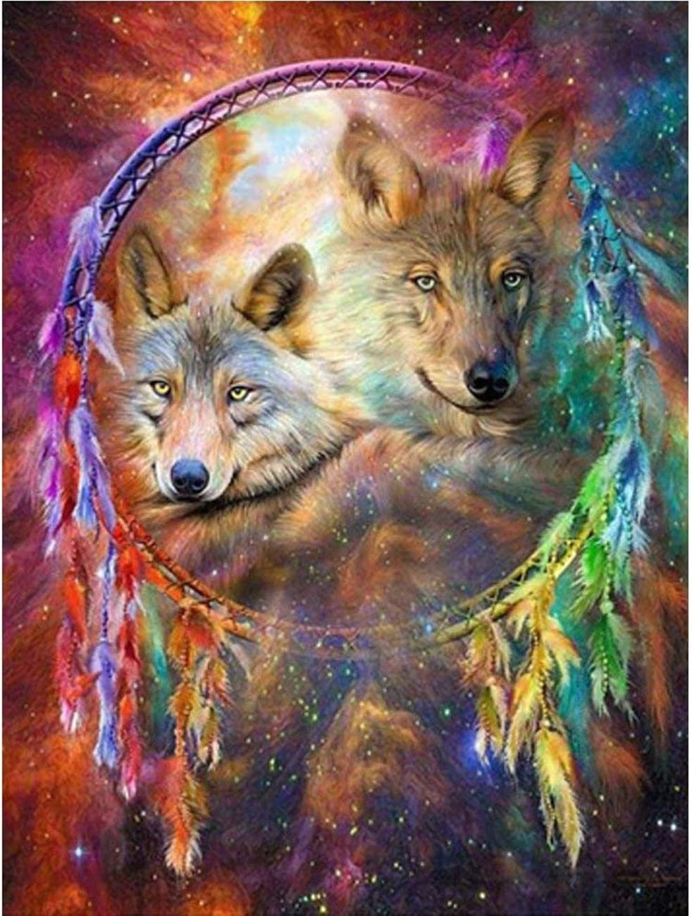 DIY Diamond Max 43% OFF Painting Kits for Wolves Dreamcatcher D Max 62% OFF Full Adults