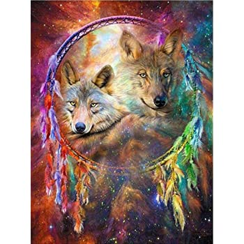 Fox Decor Paint by Sticker Rhinestone Embroidery Cross Stitch Kits Supply Arts Craft Canvas Wall Decor Stickers Home Decor 12x16 inches DIY 5D Diamond Painting by Number Kit