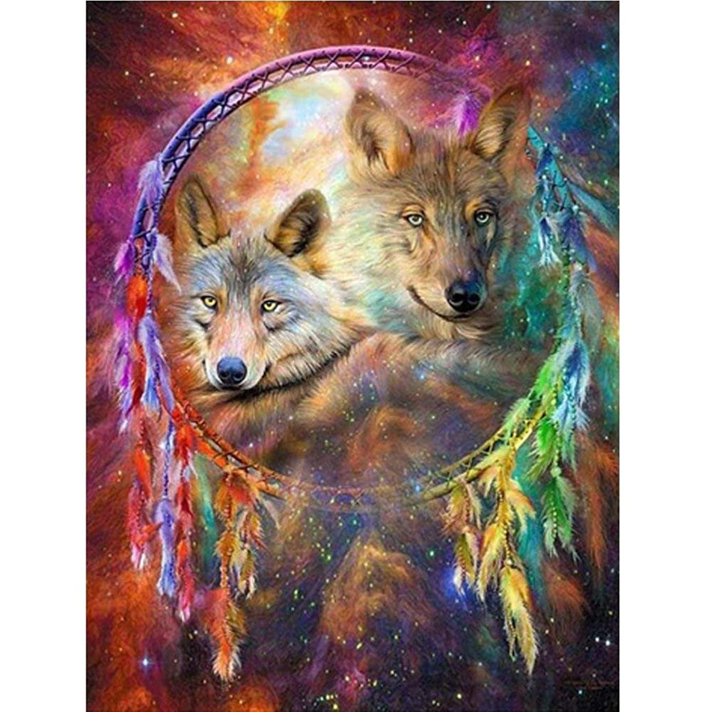 DIY Diamond Painting Kits for Adults, Dreamcatcher Wolves Full Drill Rhinestone Embroidery Cross Stitch Supply Arts Craft Canvas Wall Decor 11.8x15.8 inch