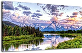 arteWOODS Canvas Wall Art River and Forest Picture Oxbow Bend Grand Teton National Park Modern Canvas Artwork Lake Large Contemporary Wall Art for Home Office Decoration 20