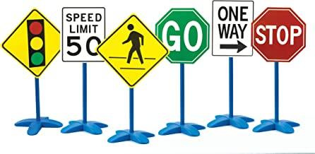 edxeducation Traffic Sign Set - Set of 6 - Stoplight, Speed Limit, Pedestrian, GO, One Way and Stop - Easy 3-Step Assembly - Create Obstacle Courses for Bikes, Toy Trucks and Scooters