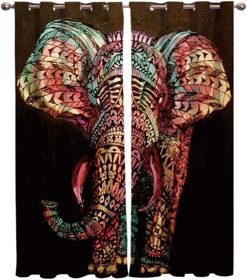 TXLLXT Africa Indian Elephant Curtains Blin Window Max 74% OFF for Max 79% OFF Treatment