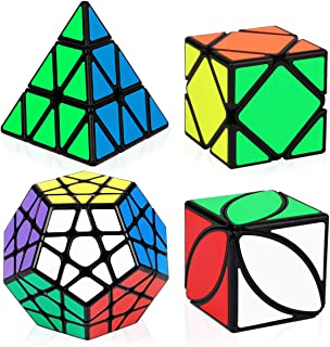 Speed Cube Bundle, Aitbay Magic Cube Set Megaminx Pyramid Skewb Ivy Sticker Speedcubing Smooth Puzzle Collection Toys (4 Pack)