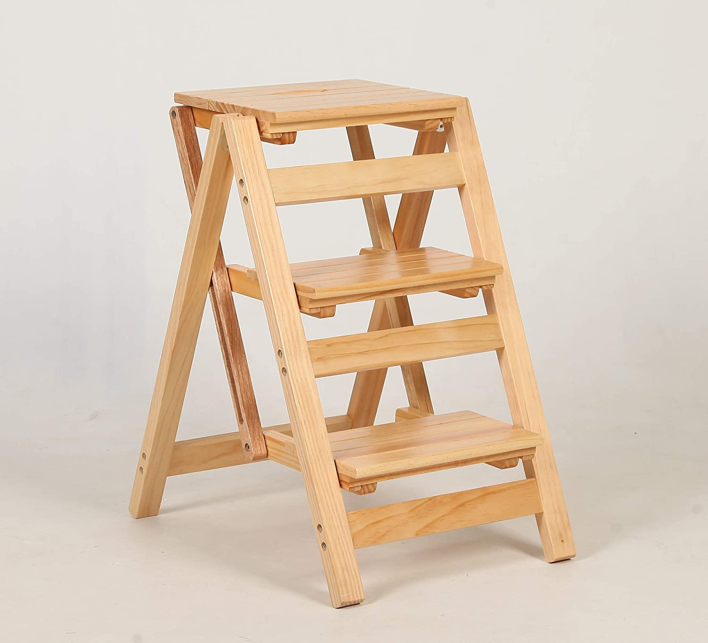 Soldering WFZCP Wooden Folding Step Ladder Steps Kitchen Mult 5 ☆ very popular Stool 3