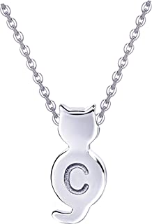 Initial Cat Necklaces Sterling Silver Cat Jewelry for...