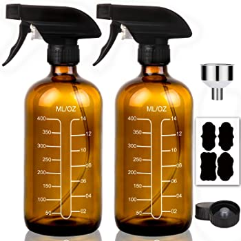 16oz Glass Spray Bottles with Measurements - Amber Empty Reusable Refillable Container with Funnel and Labels for Mixing, Homemade Cleaning Products
