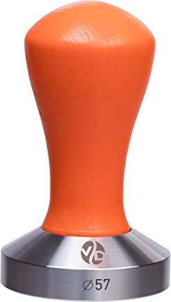 Tamper - Espresso Tamper - Coffee Tamper Classic Color Series - Coffee Press Tool - Tamper Espresso - Stainless Steel Espresso Tamper - Handle Solid Wood - Pressure Base Tampers (orange, 57mm)