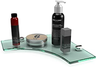 Glass Bathroom Shelves - Wall Mounted Corner Glass Shelf - Glass Shelf For Kitchen, Bathroom, Bedroom & Shower - Premium Q...