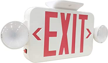 LIT-PaTH LED Combo Emergency EXIT Sign with 2 Adjustable Head Lights and Back Up Batteries- US Standard Red Letter Emergency Exit Lighting, UL 924 and CEC Qualified, 120-277 Voltage (1-Pack)