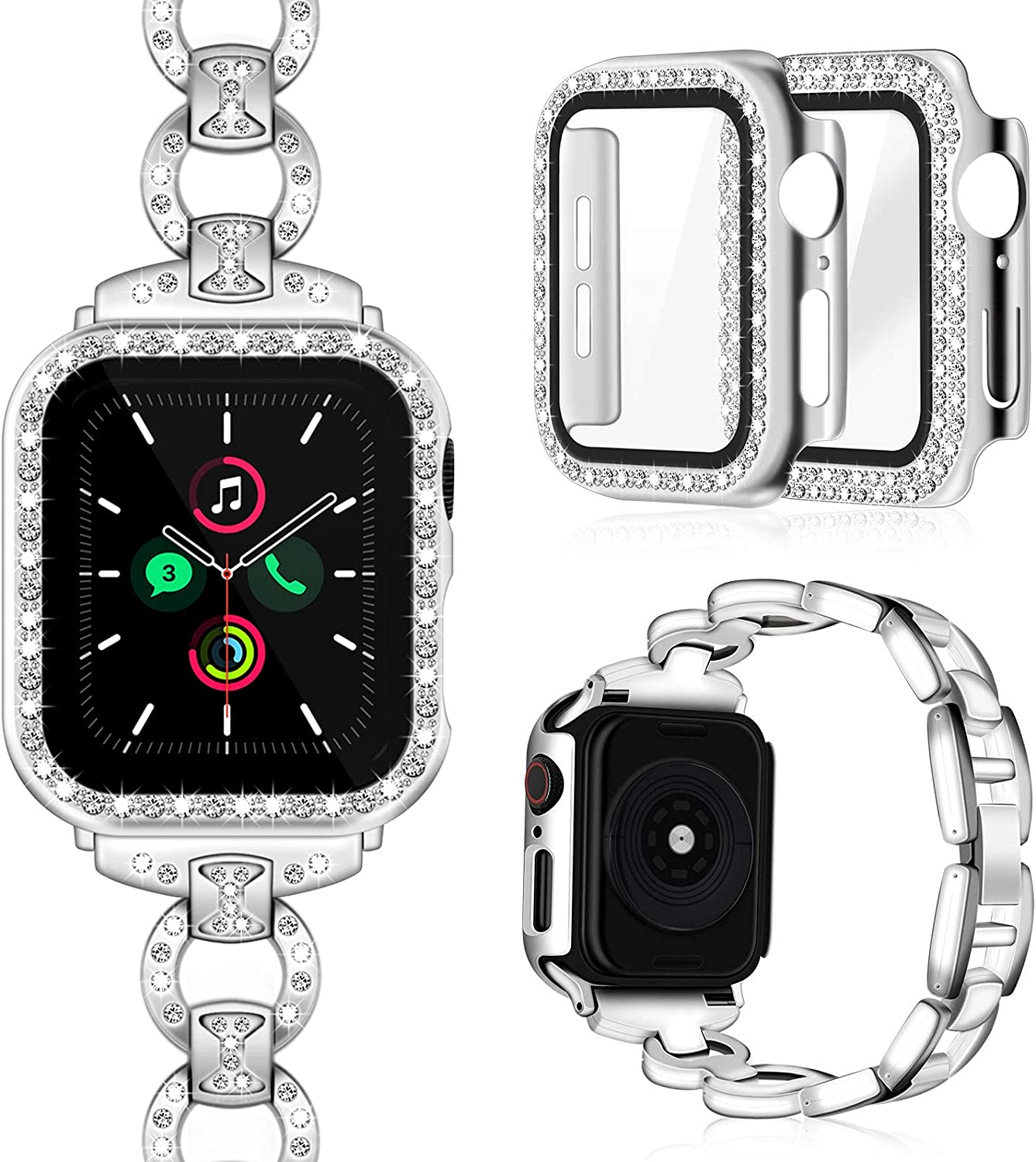 Invoibler Compatible with Apple Watch Band 40mm 44mm with Rhinestone Protective Cover, Women Girls Jewelry Replacement Metal Wristband Strap with 2PCS Bling Diamond PC Protective Case for iWatch Series 6/5/4 (Silver)