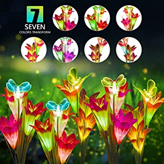 DUUDO Solar Garden Stake Lights, Upgraded Solar Powered Flower Lights with 12 Lily Flowers & Butterfly, 7-Color Solar Lights Outdoor Decorative for Patio, Backyard, Garden (Red & Purple, 4 Packs)