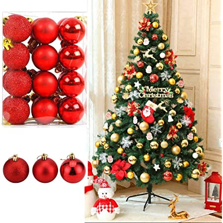 Fizzytech 12pcs Shatterproof Christmas Ball Ornaments Glitter Christmas Tree Decoration Balls for Holiday Wedding Party Decoration,with Hanging Hole (Red 3CM)