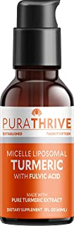 PuraTHRIVE Liquid Turmeric Extract. Premium Supplement Made with Organic Turmeric, GMO Free, Made in USA. Best Absorption ...