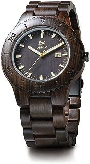 Wooden Watches LeeEV Men's Zebra Sandalwood Analog Japanese Quartz Wood Watch (Black Sandalwood)