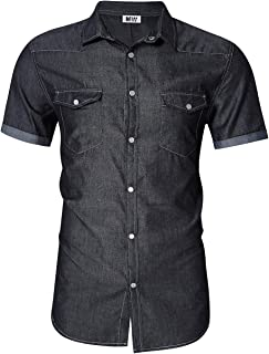 Kuulee Men's Casual Slim Fit Short Sleeve Button Down Dress Shirts Denim Shirt Jean Shirt