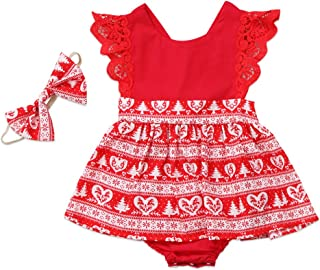 Christmas Toddler Newborn Kids Baby Girls Dress Clothes Romper Playsuit + Headband Outfits