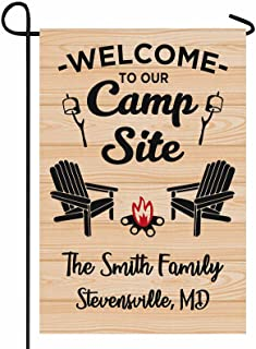 FunStudio Personalized Camper Camping Garden Flag Welcome to Our Campsite Rv Flag for Outdoor Yard House Banner Home Lawn ...