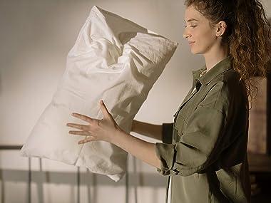 Lasimonne White Pillow Cases, 2-Pack Standard Size, Egyptian Quality Cotton Blend Luxury Percale 200TC (White)
