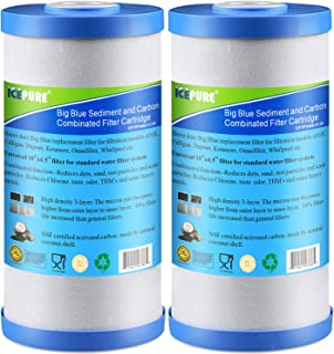 """Icepure 5 Micron 10"""" x 4.5"""" Whole House Big Blue Sediment and Activated Carbon Water Filter Replacement Cartridge Compatible with GE FXHTC, GXWH40L, GXWH35F, GNWH38S, 2-Pack"""