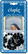 """Seven Sorrows Deluxe Chaplet with Black Wood Beads Nicely Packaged with a Laminated Holy Card & Instruction Pamphlet Overall 6.5"""" X 3.5"""""""