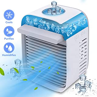 Portable Air Conditioner Fan, Personal Air Cooler, Mini Space Cooler USB Desk Fan with LED Light, 3 Speeds, Super Quiet Humidifier Misting Cooling Fan for Home Office Bedroom