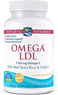 Nordic Naturals Omega LDL, Lemon - 60 Soft Gels - 1152 mg Omega-3 + Red Yeast Rice & CoQ10 - Heart Health, Normal Choleste...