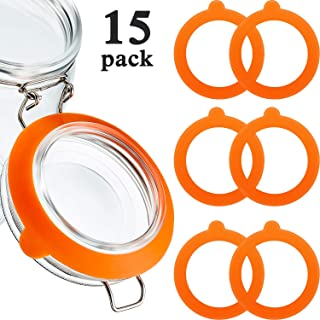 15 Pieces Silicone Jar Gaskets Replacement Silicone Seals Silicone Replacement Gasket Seals Fits Regular Mouth Canning Jars, 3.75 Inches (Orange)