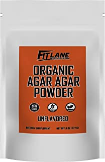 Agar Agar Powder. Organic Vegan (Vegetarian) Gelatin. Non GMO, Halal, Kosher, Gluten Free and Nutrient Rich. 8 oz Bag, Unf...