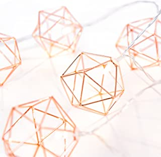 Ling's moment Rose Gold Geometric Metal LED String Lights AA Battery Powered 5.2FT 10-Lights for Wedding Minimalist Boho Decor Rose Gold Room Decor Birthday Party Bridal/Baby Shower Decor (Soft White)