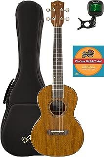 Fender Rincon Acoustic-Electric Tenor Ukulele Bundle with Gig Bag, Tuner, and Austin Bazaar Instructional DVD