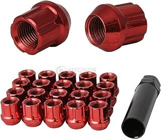 20pcs Red Spline Drive Lug Nuts - 12x1.5 Thread Size - 1.4 inch Length - Open End - Cone Acorn Taper Seat - Includes 1 Socket Key Tool - Fits Acura Chevy Honda Lexus Mazda Scion Toyota Hyundai Tuner