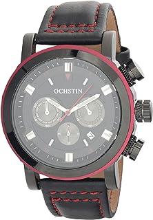 اوكستن ساعة يد للرجال ، كرونوجراف ، جلد ، GQ064A-red
