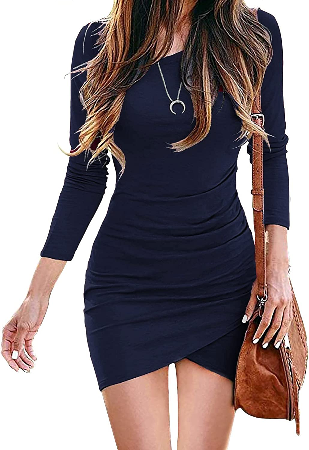 ANDERE ARTE Womens Long Sleeve Dress Bodycon Ruched Casual Sexy Elegant Wrap Midi Tshirt Fall Dresses for Party Wedding Guest