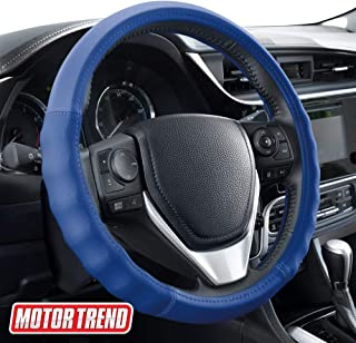 Motor Trend SW-810 Blue with Grooves Soft Touch Leather Steering Wheel Cover with Advanced Traction Universal Fit for Standard Sizes 14.5 15 15.5 inches