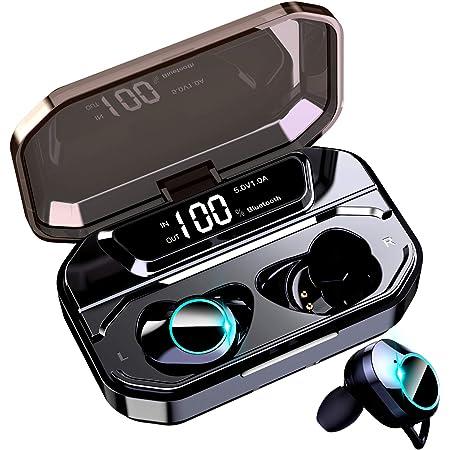 【Bluetooth5.0+EDR搭載 LEDディスプレイ】 Bluetooth イヤホン Hi-Fi AAC対応 ステレオサウンド ワイヤレスイヤホン 電池残量 インジケーター付き 完全ワイヤレス イヤホン 5000mAh超大容量 150時間連続駆動 自動ペアリング 両耳 左右分離型 CVC8.0ノイズキャンセリング タッチ式 ブルートゥース イヤホン IPX7防水 Siri対応 落下防止 マイク内蔵 技適認証済 iPhone/iPad/Android適用 (ブラック)