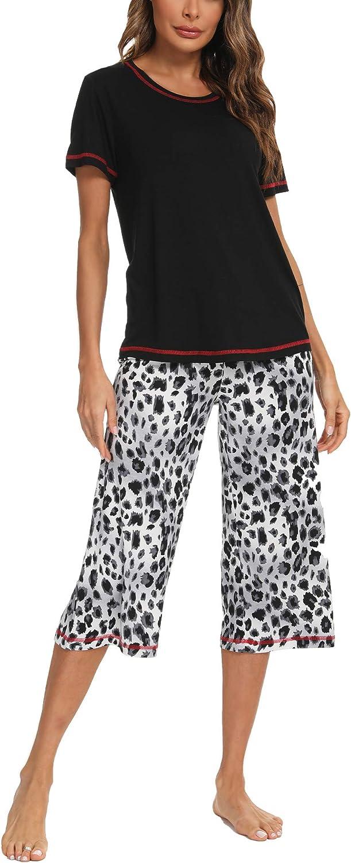 TIKTIK Women's Short Sleeve Pajama Leopard Splicing Short Sets Sleepwear Petite Plus Size S-4XL